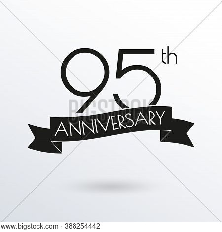 95 Years Anniversary Logo With Ribbon. 95th Anniversary Celebration Label. Design Element For Birthd