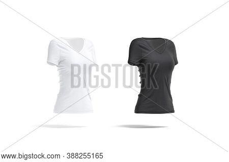 Blank Black And White Women Slimfit T-shirt Mockup, Side View, 3d Rendering. Empty Female V-neck Jer