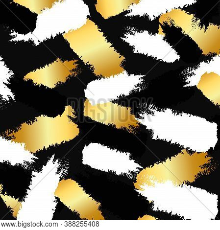 Vector Pattern Background With Gold Paint Ink, Black Splodge And White Splash. Abstract Golden Paper