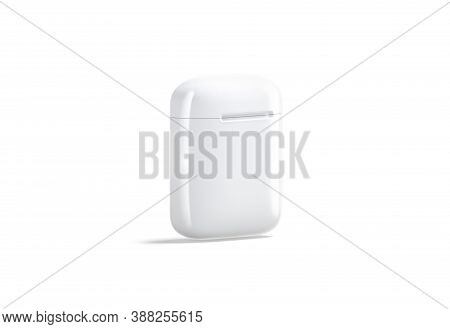 Blank White Closed Headphones Case Mockup Stand, Side View, 3d Rendering. Empty Big Box For Pro Wire