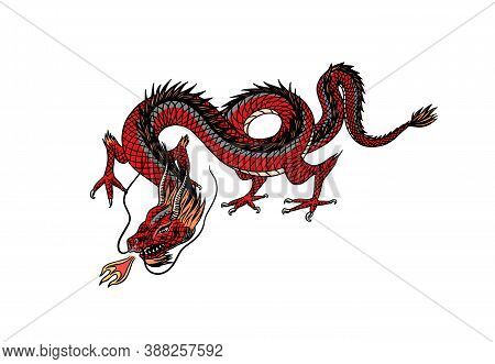 Chinese Dragon. Mythological Animal Or Asian Traditional Reptile. Symbol For Tattoo Or Label. Engrav