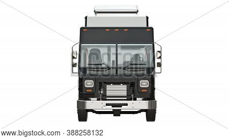 Food Truck Eatery, Front View. 3d Isolated White Background