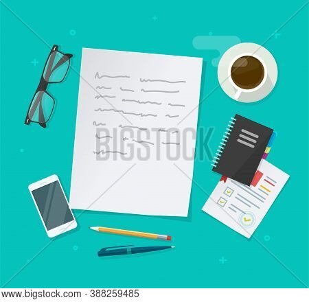 Writing Creating Text Content Vector On Education Working Desk Table Above, Essay Document, Journali