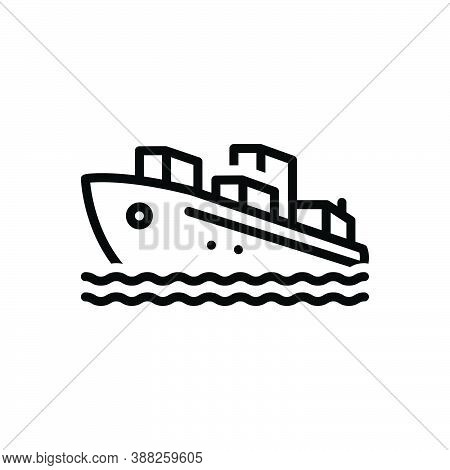 Black Line Icon For Ship Sailing Export Terminal Cargo Vessel Marine Sailboat Transportation Vintage
