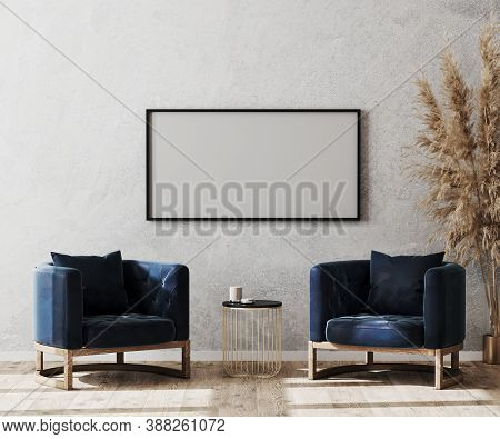 Mock Up Picture Frame In Modern Living Room Interior Background, Lobby Concept, Two Dark Blue Armcha