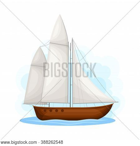 Sailing Boat With Mast Ans Sails As Water Transport Vector Illustration
