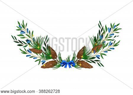 Evergreen Coniferous Tree Branches And Honeyberry Twigs Semicircular Vector Composition
