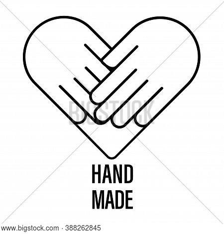 Handmade Vector Logo Icon Hand Made. Handcraft Stamp. Heart Love Symbol. Handcrafted Label. Organisa