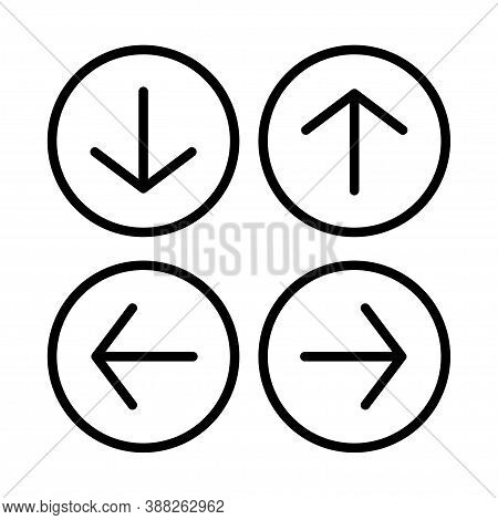 Arrow Web Icon Vector Button. Direction Next Down Up Left Rignt Back Previous Forward Symbol. Isolat
