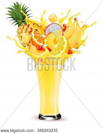 Exotic Fruit Juice Splash. Whole And Sliced Pineapple, Orange, Limon, Peach, Banana And Dragon Fruit
