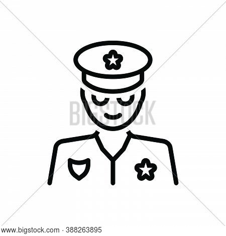 Black Line Icon For Cop Policeman Peeler Patrolman Lawman Uniform Authority Defence Officer