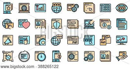 Browser Icons Set. Outline Set Of Browser Vector Icons Thin Line Color Flat On White