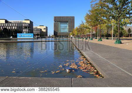 Essen, Germany - September 20, 2020: Thyssenkrupp Company Headquarters In Essen, Germany. Thyssenkru