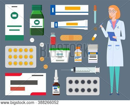 Medical Staff, Therapist Woman, Physician With Clipboard, Healthcare Web Icons, Containers, Jars, Pl