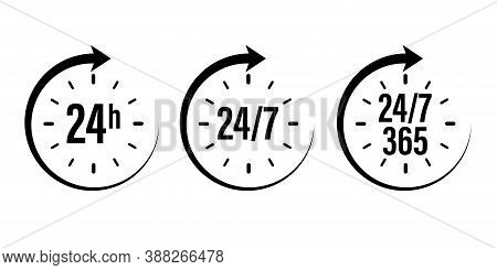 24 7 Clock Icon Vector. Day Hour Open Customer Support Service. Call Center Time Assistance 247. Onl