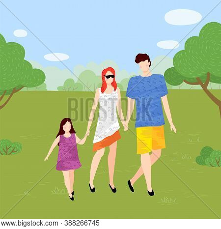 Young Family Walks In The Park. Mom Wears Sunglasses, Daughter With Colorful Dress, Father Wears Sho