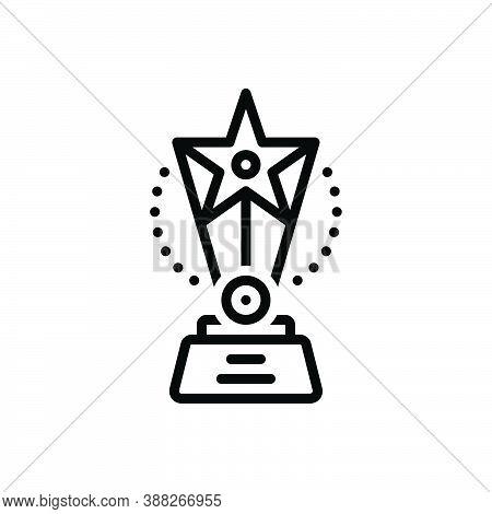 Black Line Icon For Award Winner Triumphant Prize Victorious Conquer Trophy Vanquish Veteran Achieve