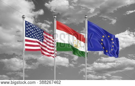 Three Realistic Flags. Three Realistic Flags. Three Colored Silky Flags In The Wind: Usa (united Sta