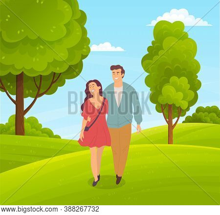 Couple Of Happy Girl And Guy Walking In Park Or Countryside, People Walk At Nature Hugging Each Othe