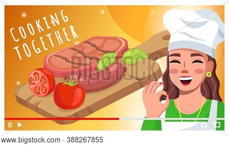 Cooking Together, Video Tutorial For Social Networks, Videoplayer Concept, Happy Woman With Okay Ges