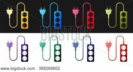 Set Electric Extension Cord Icon Isolated On Black And White Background. Power Plug Socket. Vector