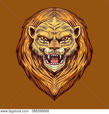 Screaming Mad Lion Or Leo. Animal For Tattoo Or Label. Roaring Beast. Engraved Hand Drawn Line Art V