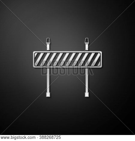 Silver Road Barrier Icon Isolated On Black Background. Fence Of Building Or Repair Works. Hurdle Ico