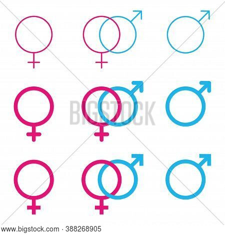 Gender Icon Male Female Vector Illustration. Sex Man Men Woman Women Symbol. Boy Girl Logo On White
