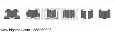 Open Book Vector Icon. Publish Literature Education Library Illustration. Open Reading Logo.