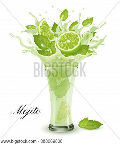 Fresh Fruit Drink Splash. Whole And Sliced Lime And Green Mint  In A Fresh Mojito Cocktail With Spla