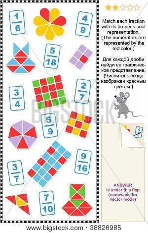 Visual fractions educational math puzzle