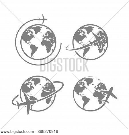 Globe Plane Icon Vector. Airplane Fly Around The Earth. International World Fly Sign Symbol. Isolate
