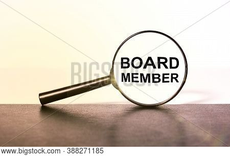 Board Member. Text Inside A Magnifying Glass On A Light Background. Inside The Magnifier