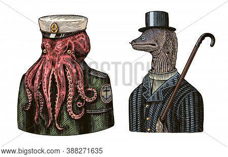 Octopus Sailor. Sea Captain And Muraena Eels. Fashion Animal Character. Nautical Seaman Or Nautical