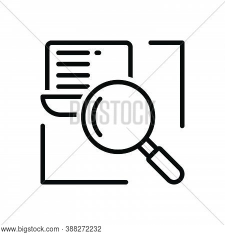 Black Line Icon For Research Investigation Inquiry Finding Magnifying Discovery Review Glass-lens