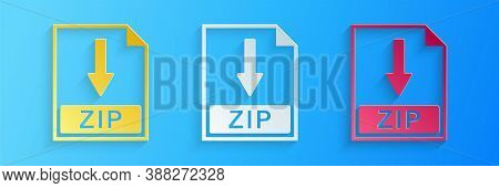 Paper Cut Zip File Document Icon. Download Zip Button Icon Isolated On Blue Background. Paper Art St