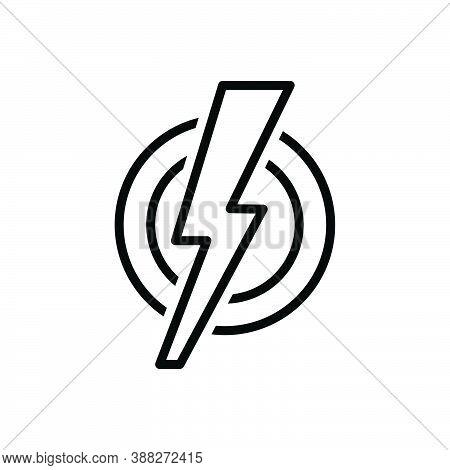 Black Line Icon For Shock Dangerous Storm Shiny Thunderbolt Lightening Electric Danger Flash Thunder