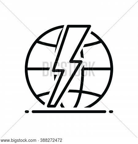 Black Line Icon For Shock Dangerous Environment Storm Shiny Thunderbolt Lightening Electric Flash Th
