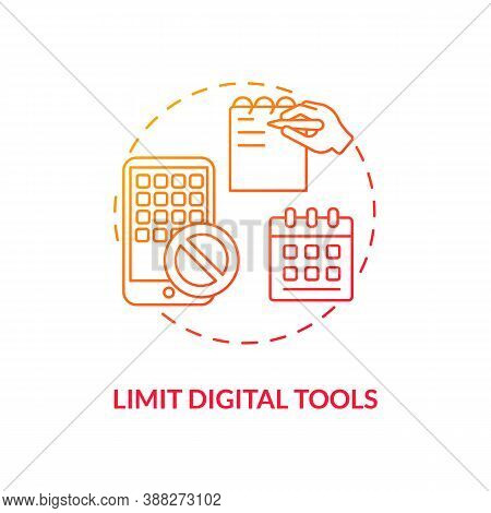 Limit Digital Tools Concept Icon. Smartphone Dependence Reducing Idea Thin Line Illustration. Beatin
