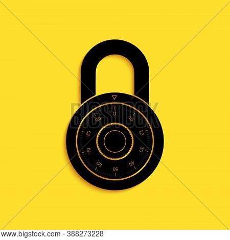 Black Safe Combination Lock Wheel Icon Isolated On Yellow Background. Combination Padlock. Protectio