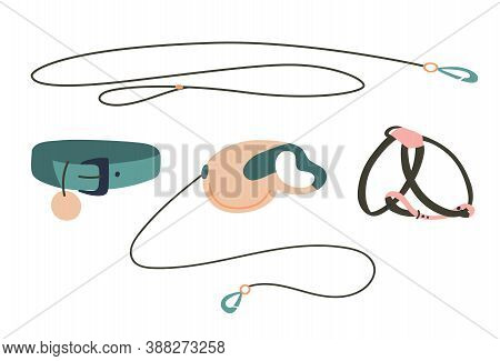 Set Of Leashs, Harness And .collar For Pet. Objects Isolated On White Background, Cartoon Style. Vec