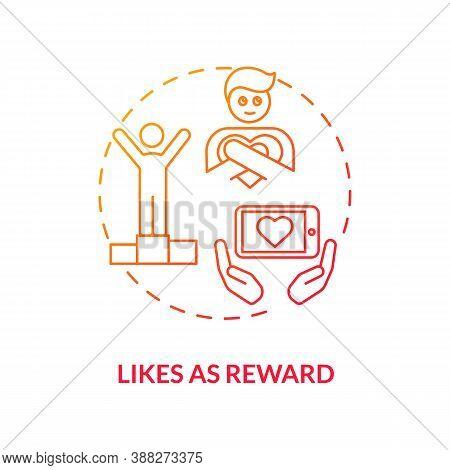 Likes As Reward Concept Icon. Social Media Addiction Idea Thin Line Illustration. Obsession With Fol