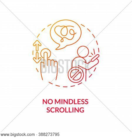 No Mindless Scrolling Concept Icon. Smartphone Dependence Reducing Idea Thin Line Illustration. Endl