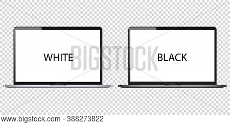 Laptop Computer Blank Screen Vector On White Background Pc Mockup. Black Metal Open Monitor Modern I