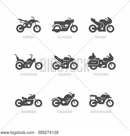 Set Glyph Icons Of Motorcycle Isolated On White. Different Types Of Motorbike, Sport, Cross, Classic