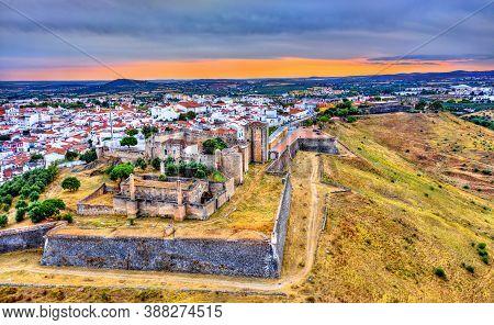 Aerial View Of The Castle Of Elvas In Alentejo, Portugal