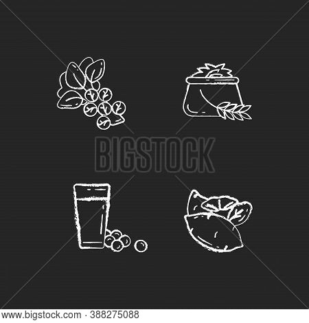 Health Vegetables Types Chalk White Icons Set On Black Background. Eco Brussels Sprouts. Organic Soy
