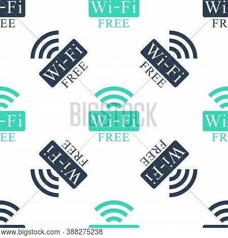 Green Free Wi-fi Icon Isolated Seamless Pattern On White Background. Wi-fi Symbol. Wireless Network
