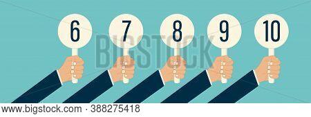 Judge Hand Holding Score Card Vector Illustration. Scorecard Number For Competition Jury Vote Set. P