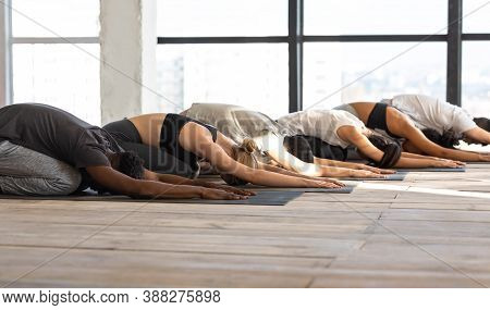Diverse Sporty People Practicing Yoga In Childs Pose, Meditating Together During Training Class In M